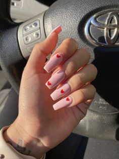 Pink coffin nails with red little hearts Acrylic Nails Coffin Short, Simple Acrylic Nails, Pink Acrylic Nails, Pink Coffin, Acrylic Nail Designs Coffin, Coffin Nails Designs Summer, Halloween Acrylic Nails, Square Acrylic Nails, Pink Acrylics