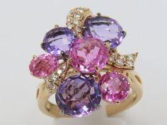 Multi Colour semi Precious Stones & Diamonds Yellow Gold 18K.Ring Size O #Cluster