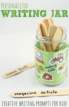Personalized Writing Jar:  Creative Writing Prompts for Kids...that they will want to write about!
