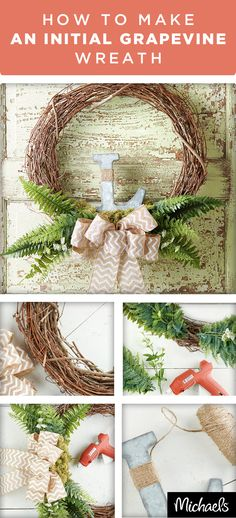 Spruce up your front door or home décor with this beautiful wreath that features a burlap bow and galvanized monogram letter. Give your porch a personal touch with a wreath that features your family's initial. Get everything you need to make this project at your local Michaels store.