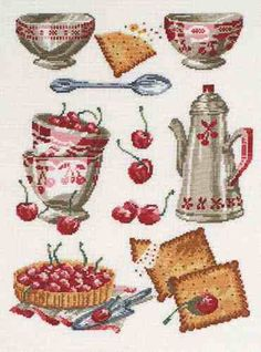 Good Life 2 Go: Free cross stitch chart: bowls and cherries by DMC