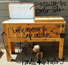 36 Ideas Diy Patio Furniture Ideas Drink Coolers For 2019 Deck Cooler, Wood Cooler, Outdoor Cooler, Diy Outdoor Bar, Outdoor Living, Small Backyard Patio, Backyard For Kids, Diy Patio, Backyard Ideas
