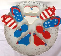 4th of July cookies.  Bikinis, Flip Flops, red white & blue