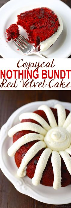 Bundt Red Velvet Cake Red velvet cake with chocolate chips and a cream cheese frosting that tastes like the popular Nothing Bundt cake.Red velvet cake with chocolate chips and a cream cheese frosting that tastes like the popular Nothing Bundt cake. Brownie Desserts, Oreo Dessert, Mini Desserts, No Bake Desserts, Just Desserts, Delicious Desserts, Baking Desserts, Cake Baking, Italian Desserts