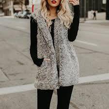 Dicloud sherpa vest female winter sleeveless jacket women long coat women downy cardigan hoody with fur vest for women Coats For Women, Jackets For Women, Clothes For Women, Vest Coat, Fur Coat, Sleeveless Jacket, Types Of Fashion Styles, Hooded Coats, Hooded Vest