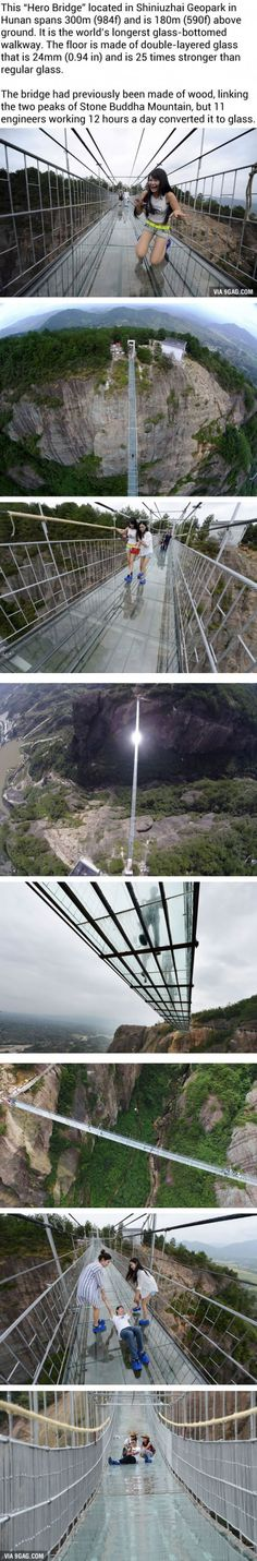 The World's Longest Glass Bridge In China. Are You Brave Enough To Cross It? I wouldn't. Not because I'm scared of heights but because the quality of the things made in China r poor af