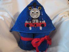 Hooded Towel Tom the Train-beach towel-baby bath towel by 4Brig on Etsy
