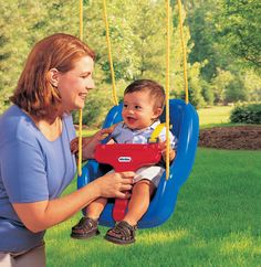 This Little Tikes 2 in 1 Snug Secure Swing accommodates babies as young as 9 months and children as old as 48 months! An easy-in T-bar and stay-put shoulder straps hold . Little Tikes Swing, Baby Toys, Kids Toys, Cool Swings, First Birthday Presents, 2nd Birthday, Birthday Ideas, Birthday Gifts, 3d Mesh