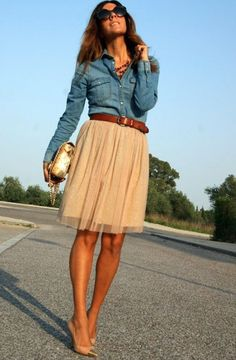 Love the girly neutral skirt paired with denim shirt