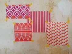 Glasswork Fuchsia Pink, Palermo Stripe Geranium, Huts Pumpkin Orange, Bunting Pumpkin Orange