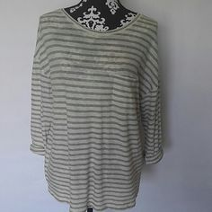"""VINCE Cuffed Sleeve Striped Top VINCE 3/4 sleeve top? Rolled/Cuffed Sleeves? Left chest pocket? Heather gray and cream/beige stripes? 100% cotton- Very soft and comfortable? Size Medium? Worn once or twice EUC? Measurements laying flat NOT stretched:? Shoulder to Shoulder: 16.5""""? Underarm to Underarm: 22.5""""? Length: 26"""" Vince Tops"""