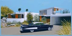 Mid Century Modern Eames Retro Limited Edition Print from Original Painting 1959 Cadillac Fleetwood - FLEETWOOD 1959 Cadillac Fleetwood parked in front of a modern desert home. Mid Century Art, Mid Century House, Mid Century Style, 21st Century, Modern Exterior, Interior Exterior, Interior Design, Modern Retro, Midcentury Modern
