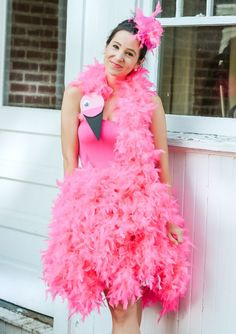 Looking for cute DIY Halloween costumes? In today's post, Steph shows how to make a cute DIY flamingo costume that works for both kids AND adults! Flamingo Halloween Costume, Pink Costume, Tutu Costumes, Diy Halloween Costumes, Adult Costumes, Costumes Kids, Halloween Ideas, Costume Ideas, Flamingo Fancy Dress