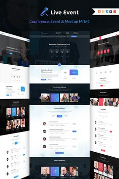 Live Event - Conference, Event & Meetup HTML TemplateLive Event - HTML is modern and fresh design template for Event, Meetup, Seminar, Conference websites. Html Templates, Page Template, Website Template, Event Landing Page, Landing Page Examples, Landing Page Inspiration, Charity Event, Live Events, Design Bundles