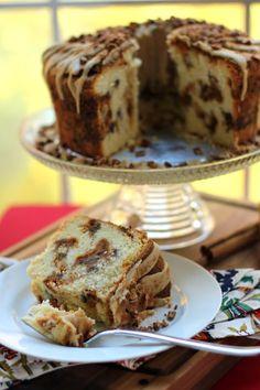 Pumpkin Streusel Swirled Cream Cheese Pound Cake -