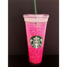 DIY glitter Starbucks cup Fantasy Pinterest Board ❤ liked on Polyvore featuring drinks