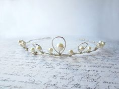 Wedding Hair, White Pearl Tiara, Bridal Hair Accessory, White Tiara, Silver Wire Tiara. $99.00, via Etsy.