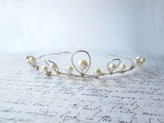 Wedding Hair, White Pearl Tiara, Bridal Hair Accessory, White Tiara, Silver Wire Tiara. $99.00, via Etsy.