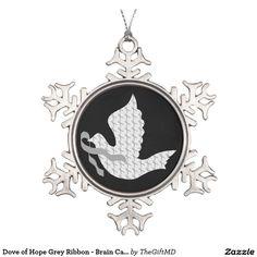 Dove of Hope Grey Ribbon - Brain Cancer / Tumor Snowflake Pewter Christmas Ornament