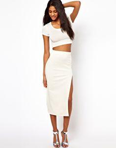 Oh My Love Textured Midi Skirt $43
