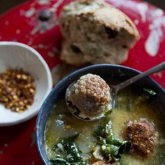 Italian Wedding Soup Recipe Soups with meat, dry bread crumbs, large eggs, romano cheese, grated parmesan cheese, fresh oregano, salt, ground black pepper, olive oil, yellow onion, garlic, chicken stock, greens, red pepper flakes, lemon wedge