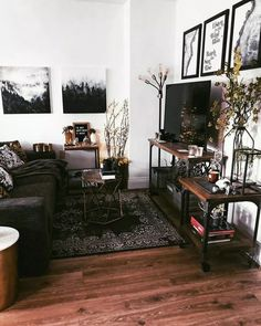 A place for peaceful enchantments and dark fairy tales. The witch aesthetic vibes are strong in my rustic studio apartment - want to come hang out with me in all this rustic home decor glory? 🖤 rustic home decor Steffi My Living Room, Home And Living, Living Room Decor, Living Spaces, Bedroom Decor, Dining Room, Dining Table, Studio Apartment Decorating, Cozy Studio Apartment