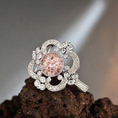 Morganite Engagement Ring ~ 1.5ct, 7.5mm Round Peachy Pink Morganite in a 14k…