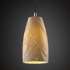 Justice Design Group POR-8816 - Pendants 1 Light Small Pendant - Tall Tapered Cylinder Shade - Polished Chrome (Grey) with Banana Leaf Shade