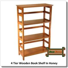 4 Tier Wooden Book Shelf In Honey - Showcase  a favorite book collection, display photos and souvenirs, or organize a home office with this 4 Tier Wooden Book Shelf In Honey. It features deep shelves, open ladder-style sides, and narrow back support rails. The warm Honey finish brings out the wood's lovely grain and adds an inviting, casual glow to any room.