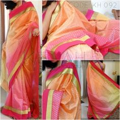 *SOLD* Shaded Silk Kota highlighted with gold&magenta border. Blouse provided.