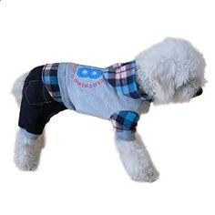DDLBiz Fashion Pet Dog Jumpsuit Clothing Cute Puppy Dog Casual Sports Clothes Plaid Digital Apparel Blue XLarge. More descripiton on the website.