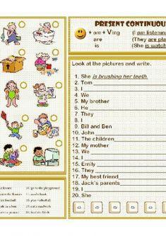 present progressive tense exercises kids