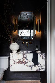 Black Marble Bathroom, White Marble, Restaurant Bathroom, Small Toilet Room, Black Toilet, Edwardian House, Guest Bath, Beautiful Bathrooms, Bathroom Inspiration