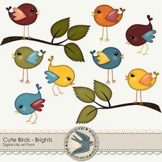 """Clip arte digital Pack Descargar Instant - """"Cute Birds"""" - en colores brillantes, para álbumes de recortes, tarjetas, invitaciones"""