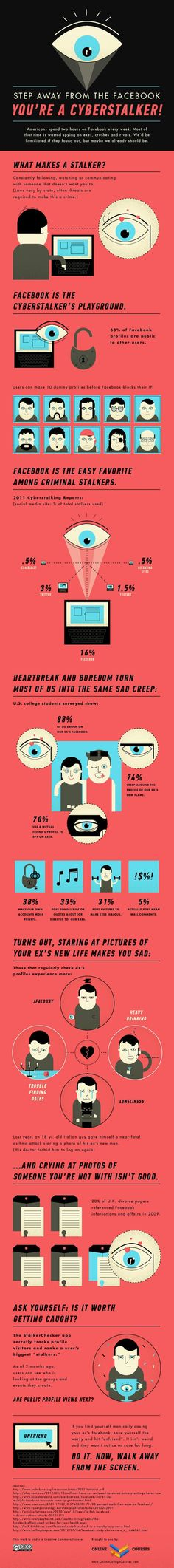 Step away from the FaceBook you're a cyberstalker! #infographic
