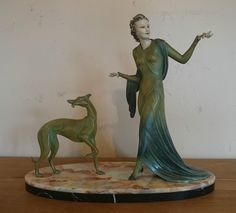 Rare French Art Deco chryselephantine sculpture lady & greyhound by Menneville