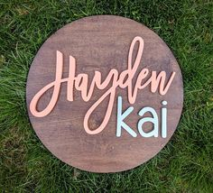24 Round Custom Name Sign Wood cut out Name cut out