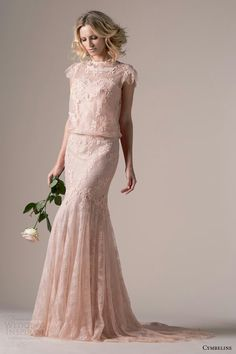 "High Neck Capped Sleeves Rose Pink Lace Blouson Wedding Dress; ""Iphigenie"" by Cymbeline Bridal 2015·····"