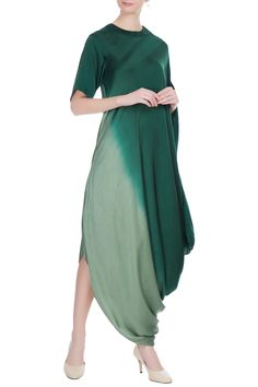 Green ombre satin shaded draped dress