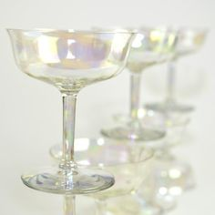 Fancy - Iridescent Luster Crystal Cordial Stemware Goblets - Beautiful Aurora Borealis Rainbow Shine, SET OF 8 - Vintage Kitchen or Bar Serving