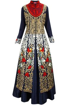 Aharin India | This four piece set features a navy blue cotton silk lehenga skirt along with matching inner with embroidered cuffs and red chiffon dupatta with zari and dori embroidered border.  It also features a navy blue raw silk mandarin collar straight long jacket with red and white dori and gold zari embroidery in forest pattern all over it and center slit.  FIT: Fits true to size.  COMPOSITION: Raw silk, cotton silk, chiffon. Lining: Crepe.