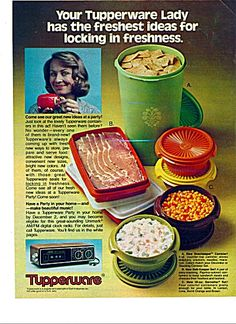 Tupperware colored ad 8 x 11 inches. Your Tupperware lady has the freshest ideas for locking in freshness. Come see our great new ideas at a party. Have a tupperware party in your home. Vintage Advertisements, Vintage Ads, Bottle Top, Household Products, Vintage Scrapbook, Vintage Tupperware, Kitchen Stuff, Vintage Kitchen, Christmas Lights