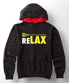 Black & Red 'Relax' Stick Pullover Hoodie - Toddler & Kids