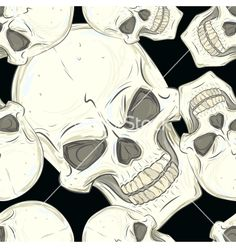 Seamless pattern with skulls vector - by lolya1988 on VectorStock®