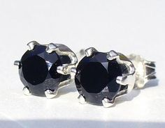 NEW Silver EARRINGS 4mm 1/2ct each Top Quality & Luster Intense Jet Black SPINEL #Handmade #Stud