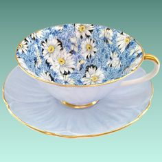 Shelley Bone China Blue Daisy Chintz 14212 Oleander Shape Teacup and Saucer