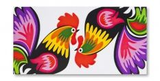 Reminds me of my friends Beths chicken coop painitngs, this doesnt even compare to her paintings!!colorful roosters:)