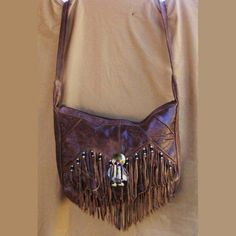 Native American style Fringed Leather Bag