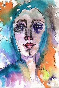 "Watercolor ATC called ""Woman of Colors""."