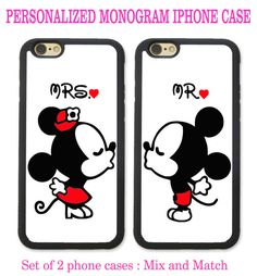His & Hers PHONE CASES Couple Kissing 2 iPhone Cases - CUSTOM PERSONALIZED…